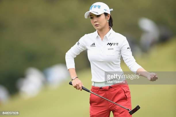 ShinAe Ahn of South Korea prepares to putt on the first green during the final round of the Munsingwear Ladies Tokai Classic 2017 at the Shin Minami...