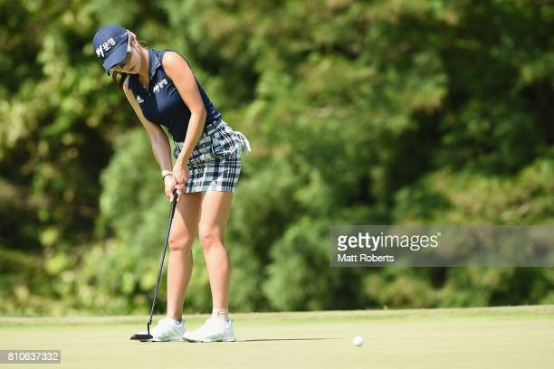 ShinAe Ahn of South Korea putts on the 12th green during the second round of the Nipponham Ladies Classics at the Ambix Hakodate Club on July 8 2017...