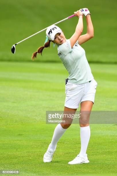 ShinAe Ahn of South Korea shots during the first round of the Daito Kentaku Eheyanet Ladies 2017 at the Narusawa Golf Club on July 27 2017 in...
