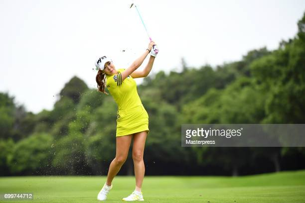 ShinAe Ahn of South Korea shots during the first round of the Earth Mondamin Cup at the Camellia Hills Country Club on June 22 2017 in Sodegaura Japan