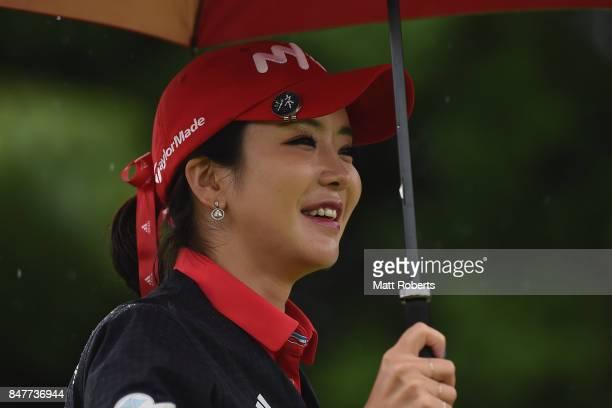 ShinAe Ahn of South Korea smiles during the second round of the Munsingwear Ladies Tokai Classic 2017 at the Shin Minami Aichi Country Club Mihama...