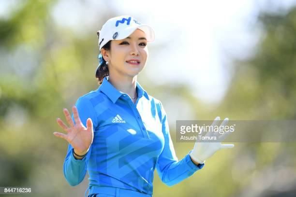 ShinAe Ahn of South Korea smiles during the third round of the 50th LPGA Championship Konica Minolta Cup 2017 at the Appi Kogen Golf Club on...
