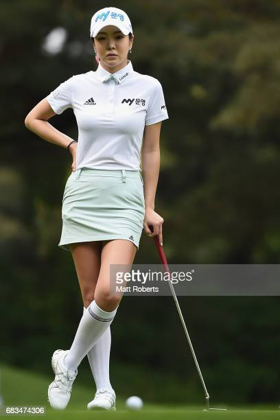 ShinAe Ahn of South Korea waits to putt during the first round of the HokennoMadoguchi Ladies at the Fukuoka Country Club Wajiro Course on May 13...