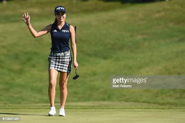 ShinAe Ahn of South Korea walks onto the 18th green during the second round of the Nipponham Ladies Classics at the Ambix Hakodate Club on July 8...