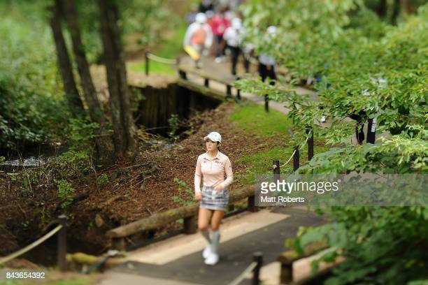 ShinAe Ahn of South Korea walks to the 2nd hole tee box during the first round of the 50th LPGA Championship Konica Minolta Cup 2017 at the Appi...