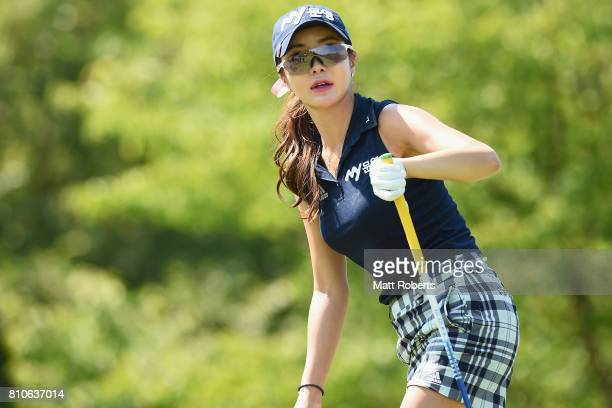 ShinAe Ahn of South Korea watches her tee shot on the 13th hole during the second round of the Nipponham Ladies Classics at the Ambix Hakodate Club...