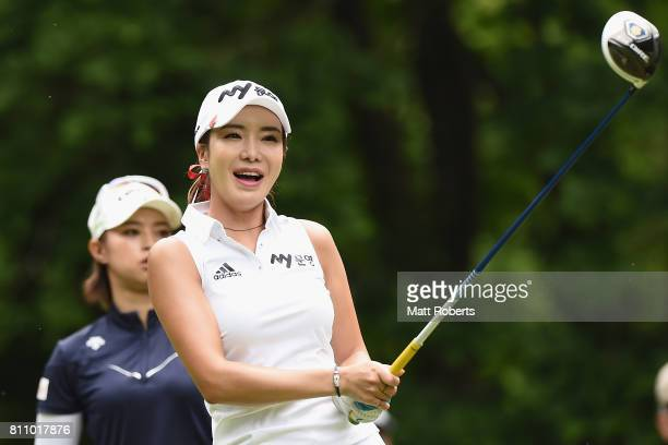 ShinAe Ahn of South Korea watches her tee shot on the 8th hole during the final round of the Nipponham Ladies Classics at the Ambix Hakodate Club on...