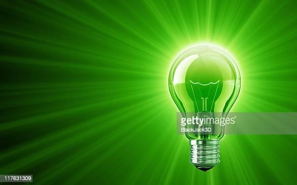 Shine of Green Light Bulb