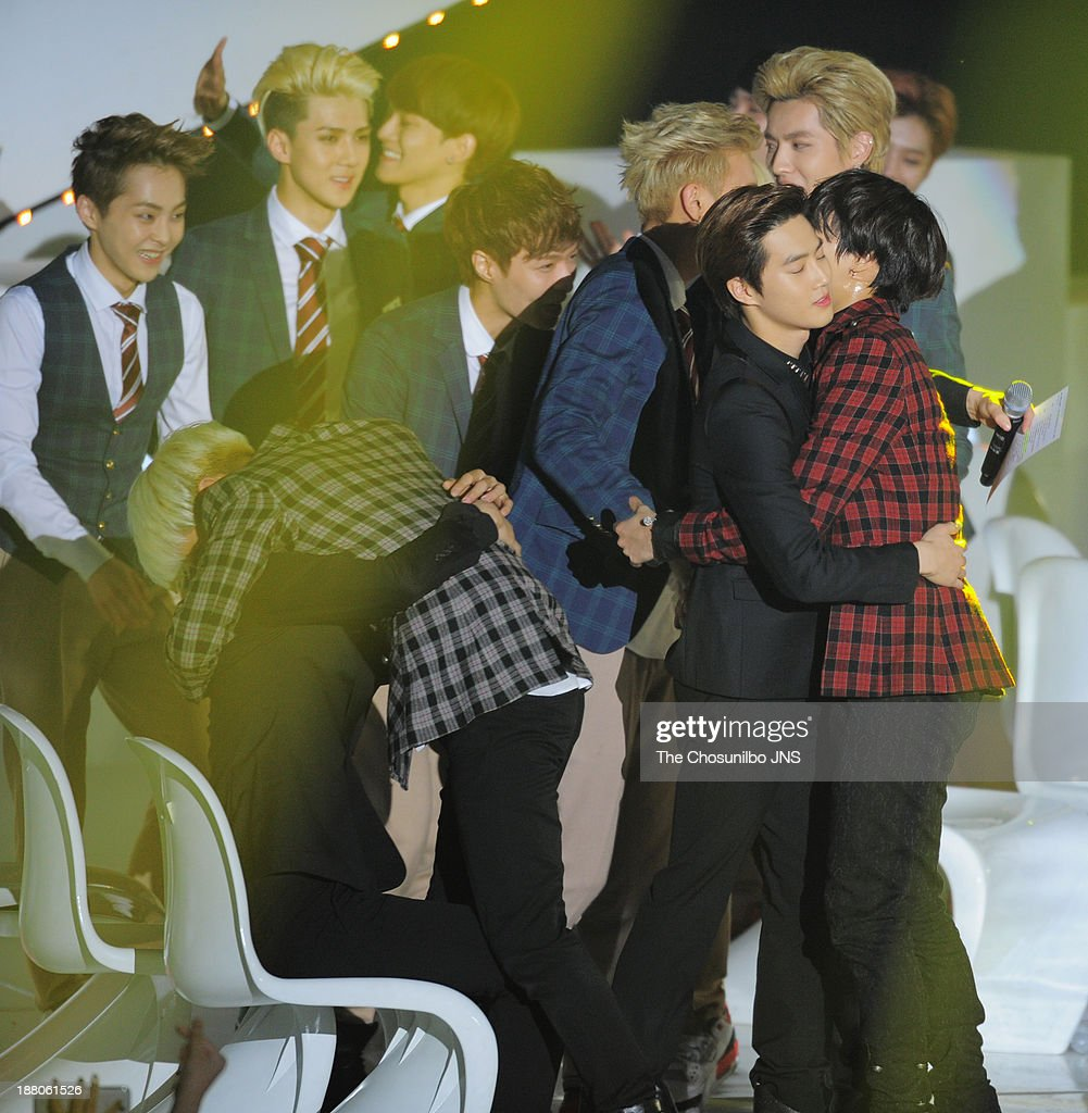 SHINee and EXO onstage during the 2013 Melon Music Awards at Olympic Gymnastics Stadium on November 14, 2013 in Seoul, South Korea.