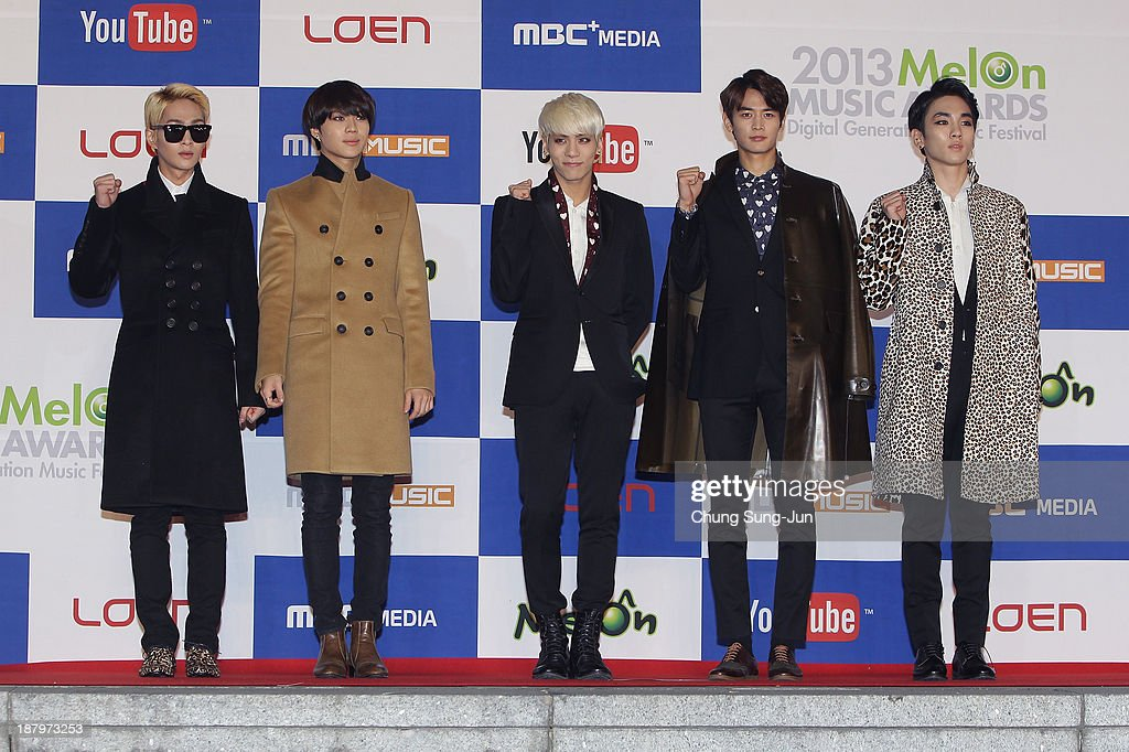 SHINee arrive for the MelOn Music Awards at Olympic Gymnasium on November 14, 2013 in Seoul, South Korea.