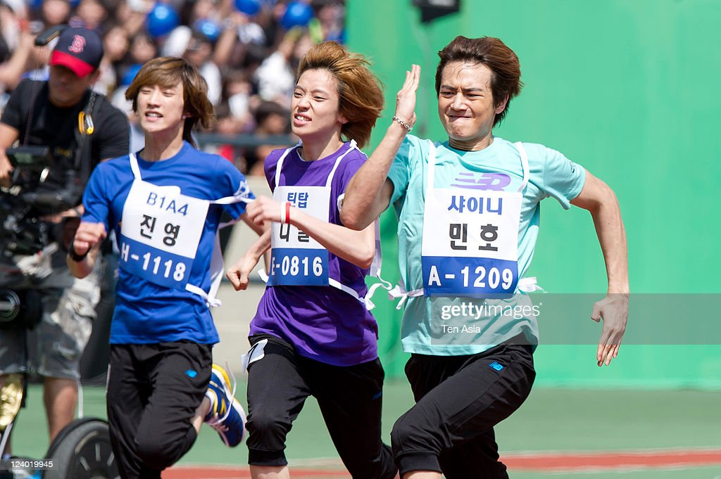 SHINee attend the 3rd Idol stars track and field championship at the Jamsil Stadium on August 27, 2011 in Seoul, South Korea.