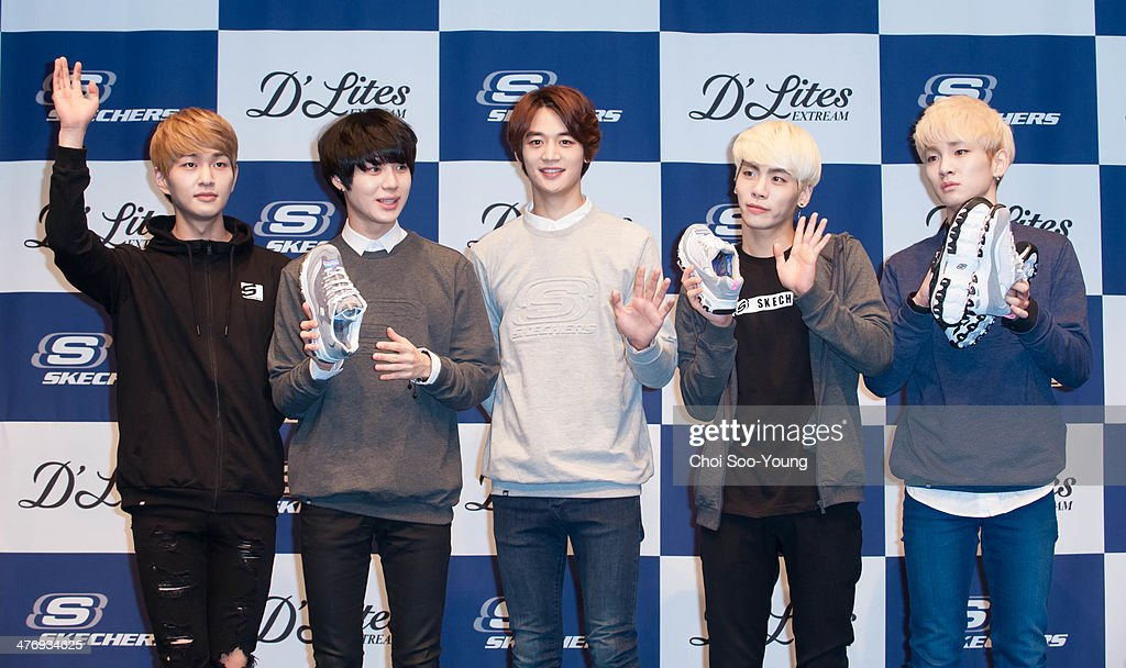 SHINee attend the autograph session for Skechers at Hyundai department store on February 26, 2014 in Seoul, South Korea.