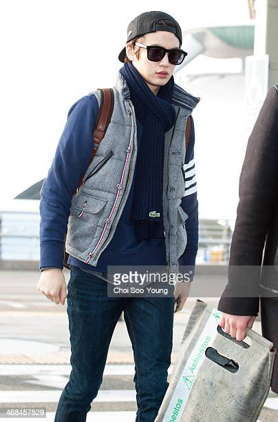 SHINee is seen at Incheon International Airport on February 7 2014 in Incheon South Korea