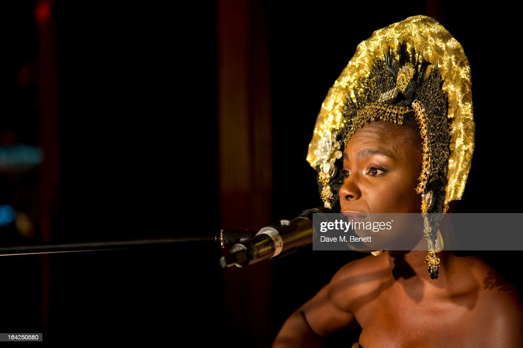 <a gi-track='captionPersonalityLinkClicked' href=/galleries/search?phrase=Shingai+Shoniwa&family=editorial&specificpeople=4266140 ng-click='$event.stopPropagation()'>Shingai Shoniwa</a> peforms at the Baileys Spirited Women party at Cafe Royal on March 21, 2013 in London, England.