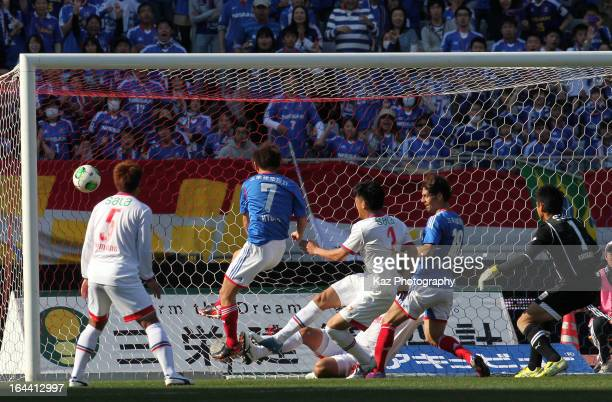 Shingo Hyodo of Yokohama FMarinos scores the second goal during the JLeague match between Yokohama FMarinos and Jubilo Iwata at Nissan Stadium on...