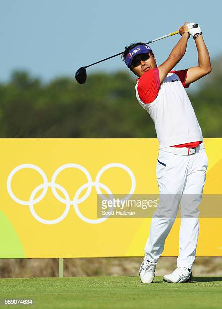 Shingo Katayama of Japan hits his tee shot on the ninth hole during the third round of the golf on Day 8 of the Rio 2016 Olympic Games at the Olympic...