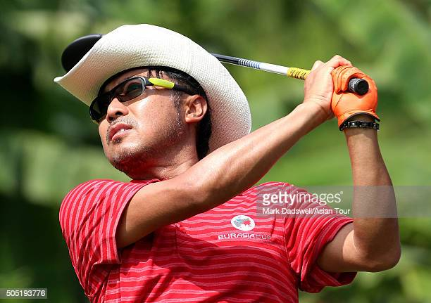 Shingo Katayama of Japan plays a tee shot during day two of the EurAsia Cup presented by DRBHICOM at Glenmarie GCC on January 16 2016 in Kuala Lumpur...