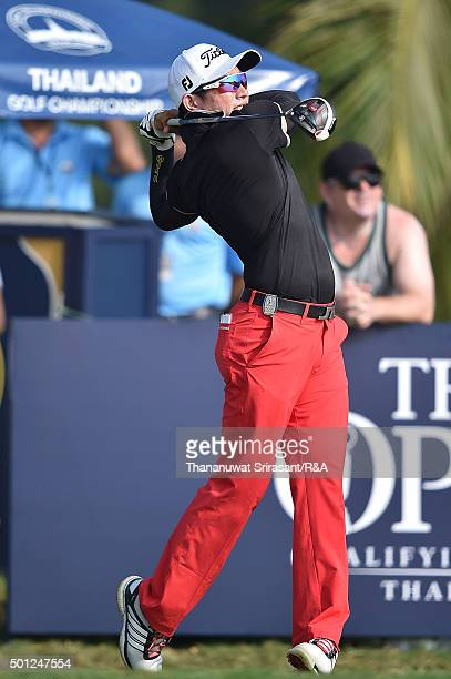 Shingo Katayama of Japan plays the shot during the final round of the 2015 Thailand Open at Amata Spring Country Club on December 13 2015 in Chon...