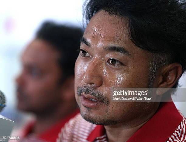 Shingo Katayama of Japan speaks at a press conference ahead of the EurAsia Cup presented by DRBHICOM at Glenmarie GCC on January 13 2016 in Kuala...
