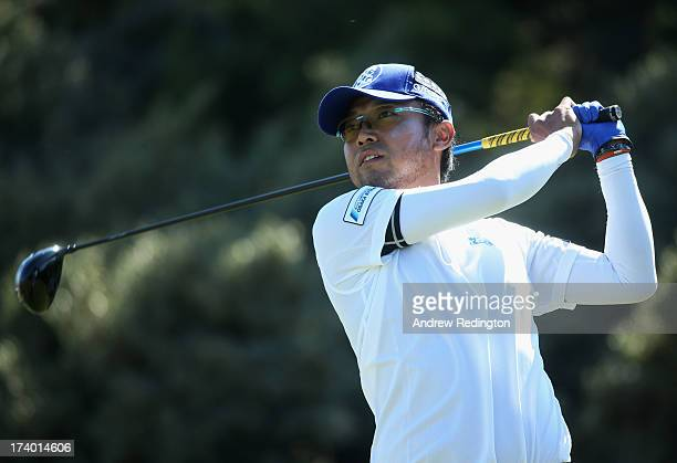 Shingo Katayama of Japan tees off on the 3rd hole during the second round of the 142nd Open Championship at Muirfield on July 19 2013 in Gullane...