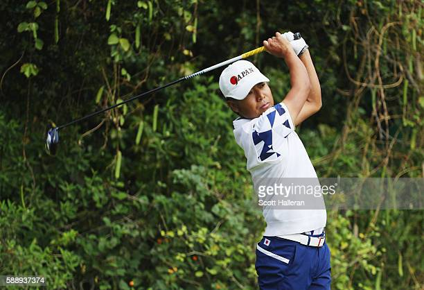 Shingo Katayama of Japan watches his tee shot on the 11th hole during the second round of the golf on Day 7 of the Rio 2016 Olympic Games at the...