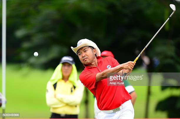 Shingo Katayama of Team Asia pictured during the day three of the EurAsia Cup 2016 presented by DRBHICOM at Glenmarie GCC on January 17 2016 in Kuala...