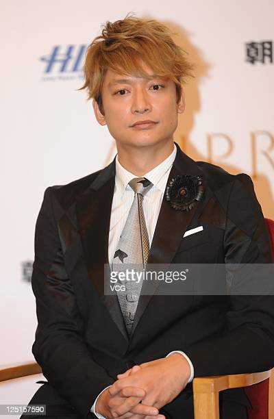 Shingo Katori of Japanese boy band SMAP attend a press conference ahead of Beijing concert at the Great Hall of the People on September 15 2011 in...
