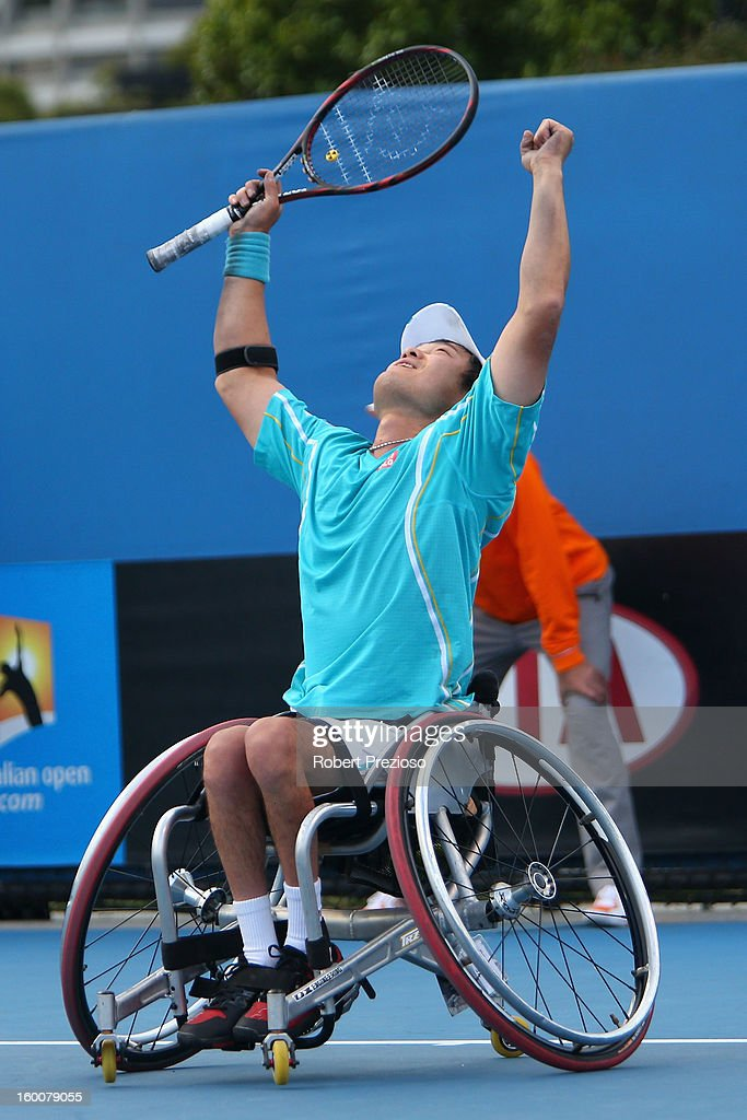 Shingo Kunieda of Japan celebrates winning his Men's Wheelchair Singles Final match against Stephane Houdet of France during the 2013 Australian Open Wheelchair Championships at Melbourne Park on January 26, 2013 in Melbourne, Australia.