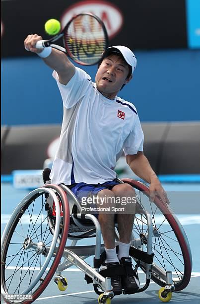 Shingo Kunieda of Japan during the Men's Wheelchair Singles Final match against Stephane Houdet of France during day thirteen of the 2011 Australian...
