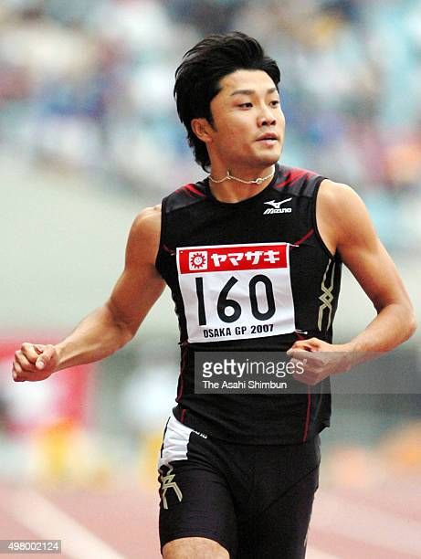 Shingo Suetsugu reacts after winning the Men's 100m during the IAAF Osaka Grand Prix at Nagai Stadium on May 5 2007 in Osaka Japan