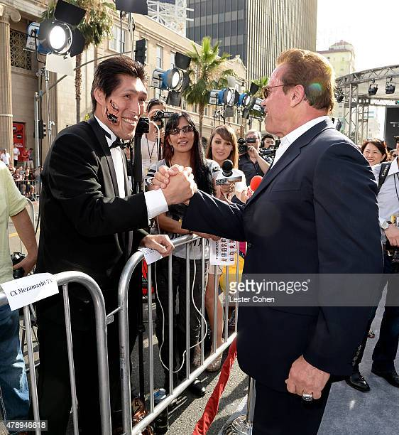 Shinichi Shinohara and Actor Arnold Schwarzenegger attends the premiere of Paramount Pictures' 'Terminator Genisys' at Dolby Theatre on June 28 2015...