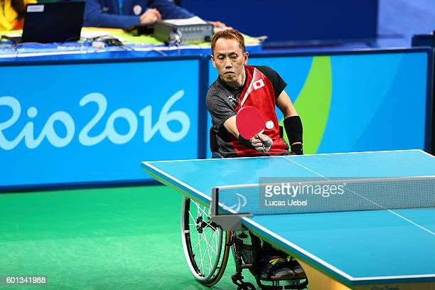 Shinichi Yoshida of Germany competes in the men's singles Table Tennis Class 3 on day 2 of the Rio 2016 Paralympic Games at Riocentro Pavilion 3 on...