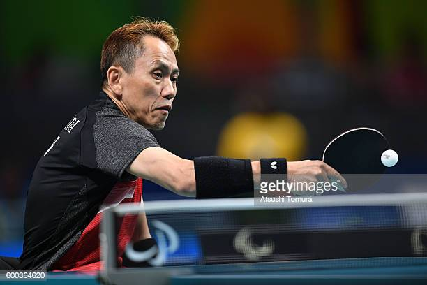 Shinichi Yoshida of Japan competes in the Men's singles Table Tennis Class 3 on day 1 of the Rio 2016 Paralympic Games at Riocentro Pavilion 3 on...