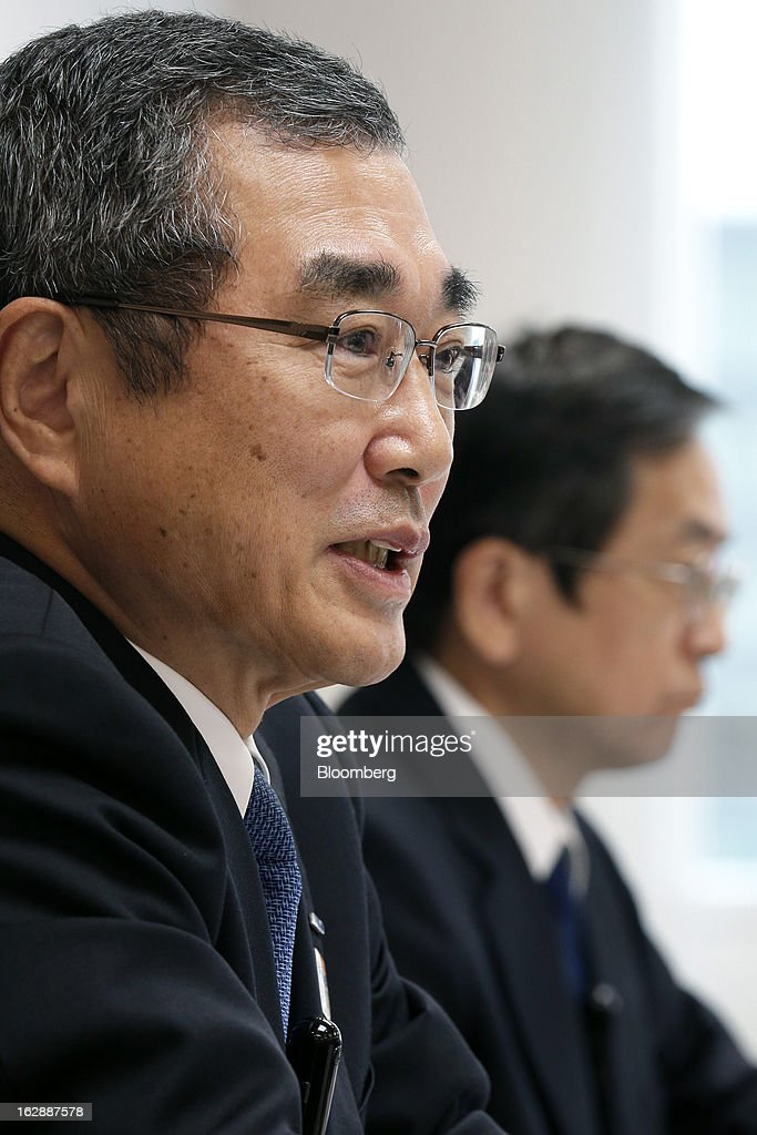 <a gi-track='captionPersonalityLinkClicked' href=/galleries/search?phrase=Shinichiro+Ito&family=editorial&specificpeople=5666038 ng-click='$event.stopPropagation()'>Shinichiro Ito</a>, outgoing president and chief executive officer of All Nippon Airways Co. (ANA) and incoming president and chief executive officer of ANA Holdings Inc., left, speaks as Osamu Shinobe, incoming president and chief executive officer of All Nippon Airways Co., listens during a news conference at the company's headquarters in Tokyo, Japan, on Friday, March 1, 2013. Ito will also take the role of chairman of All Nippon Airways Co. when ANA Holdings commences April 1. Photographer: Kiyoshi Ota/Bloomberg via Getty Images