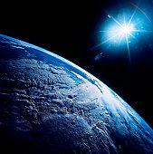 Shining star over Earth.