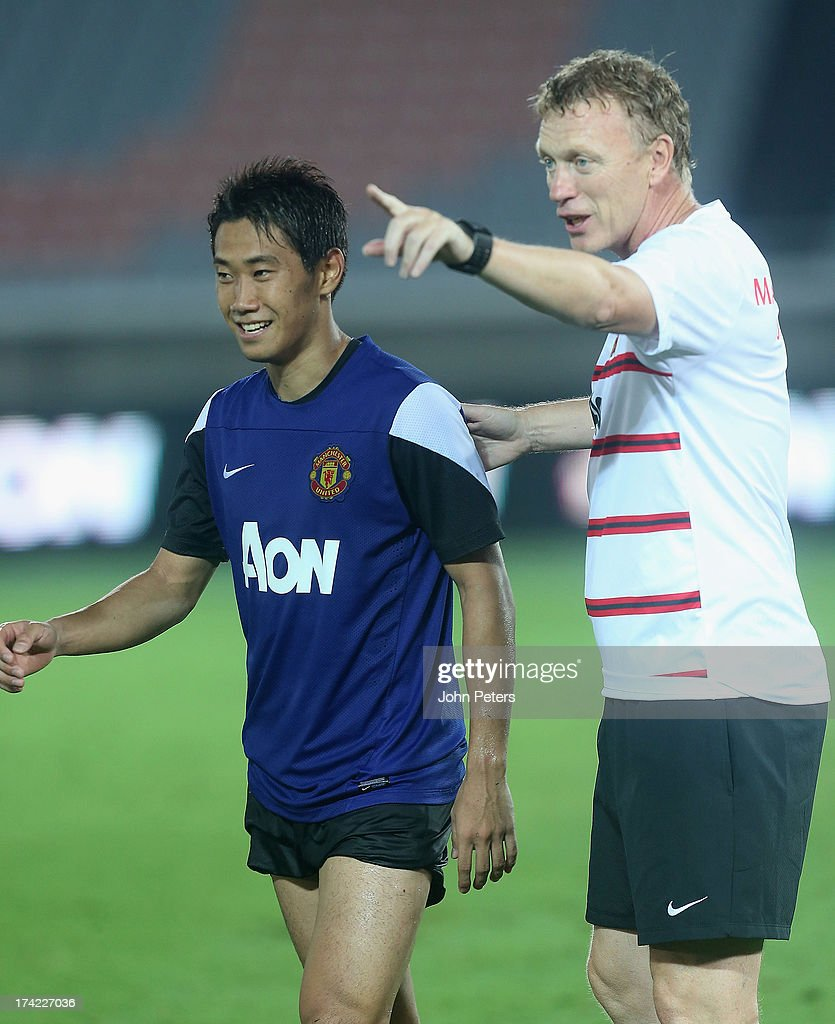 Shinji Kagawa and Manager David Moyes of Manchester United in action during a first team training session as part of their pre-season tour of Bangkok, Australia, China, Japan and Hong Kong on July 22, 2013 in Yokohama, Japan.