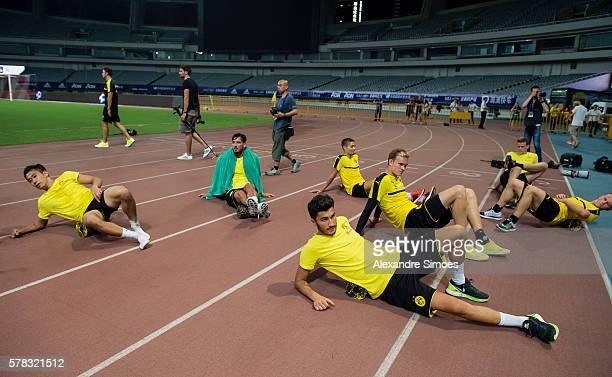 Shinji Kagawa and Nuri Sahin of Borussia Dortmund at a training session before the International Champions Cup China during Borussia Dortmund's...
