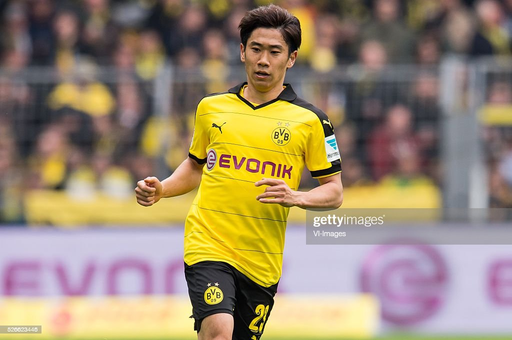 Shinji Kagawa of Borussia Dortmund during the Bundesliga match between Borussia Dortmund and VfL Wolfsburg on April 30, 2016 at the Signal Idun Park stadium in Dortmund, Germany.