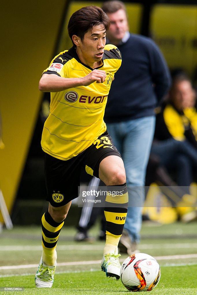 Shinji Kagawa of Borussia Dortmund during the Bundesliga match between Borussia Dortmund and VfL Wolfsburg on April 30, 2016 at the Signal Idun Park stadium in Dortmund, Germany.