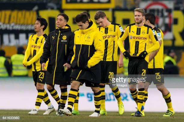 Shinji Kagawa of Borussia Dortmund Emre Mor of Borussia Dortmund Raphael Guerreiro of Borussia Dortmund and Andre Schuerrle of Borussia Dortmund...