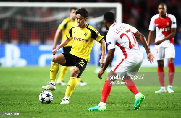 Shinji Kagawa of Borussia Dortmund in action during the UEFA Champions League Quarter Final second leg match between AS Monaco and Borussia Dortmund...
