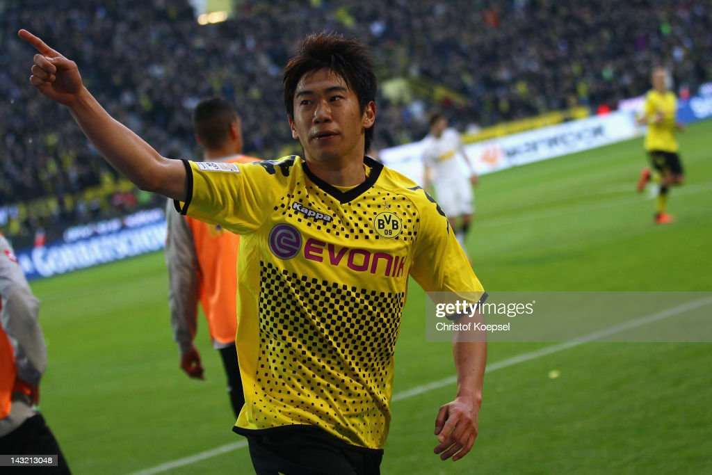 Shinji Kagawa of Dortmund celebrates the second goal during the 1 Bundesliga match between Borussia Dortmund an Borussia Moenchengladbach at Signal...