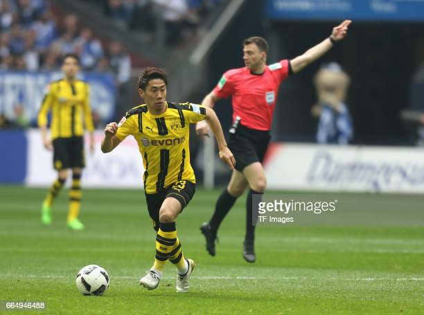 Shinji Kagawa of Dortmund controls the ball during the Bundesliga match between FC Schalke 04 and Borussia Dortmund at VeltinsArena on April 1 2017...