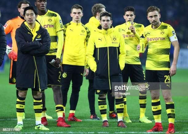 Shinji Kagawa of Dortmund DanAxel Zagadou of Dortmund Maximilian Philipp of Dortmund Raphael Guerreiro of Dortmund Marc Bartra of Dortmund and Marcel...