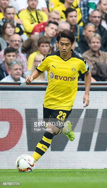 Shinji Kagawa of Dortmund is pictured during the Bundesliga match between Hannover 96 and Borussia Dortmund at HDIArena on September 12 2015 in...