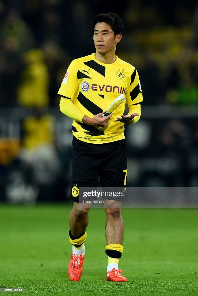 Shinji Kagawa of Dortmund is seen during the Bundesliga match between Borussia Dortmund and FC Bayern Muenchen at Signal Iduna Park on April 4 2015...