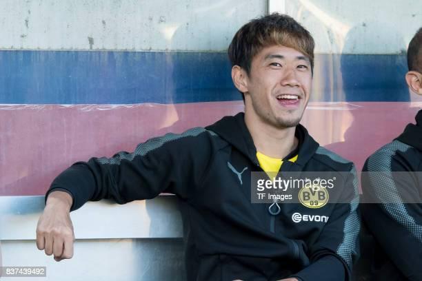 Shinji Kagawa of Dortmund looks on during a friendly match between Espanyol Barcelona and Borussia Dortmund as part of the training camp on July 28...
