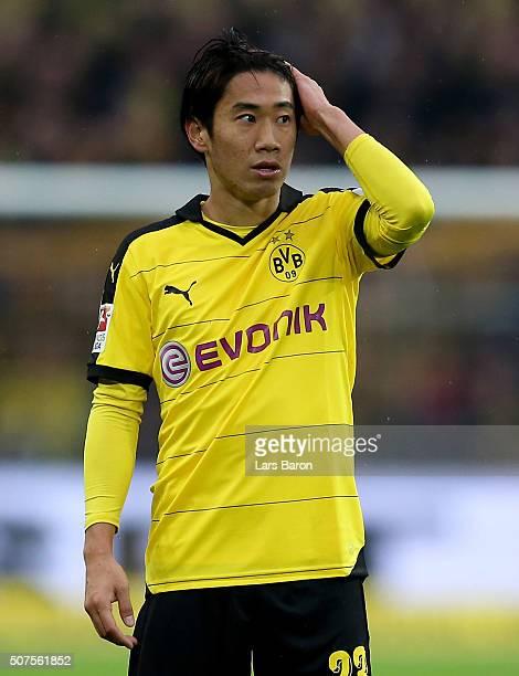 Shinji Kagawa of Dortmund looks on during the Bundesliga match between Borussia Dortmund and FC Ingolstadt at Signal Iduna Park on January 30 2016 in...