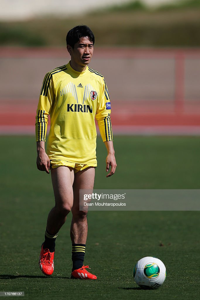 Shinji Kagawa of Japan looks on during the Japan Training Session at the Confederations Cup 2013 at Centro de Capacitacao Fisica dos Bombeiros or...