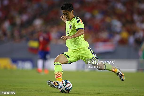 Shinji Kagawa of Japan shoots at goal during the International Friendly Match between Japan and Costa Rica at Raymond James Stadium on June 2 2014 in...